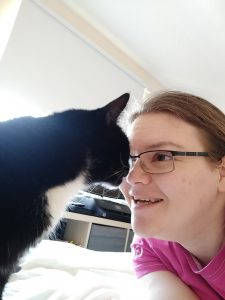 Tracey with Sol the cat